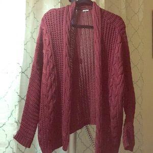 Burgundy Knit Cardigan/Sweater